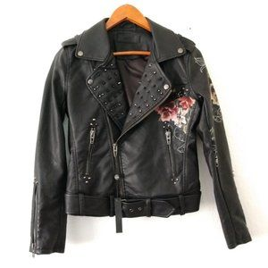 BLANK NYC faux leather floral studded Moto jacket